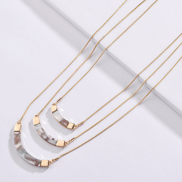 Gold Tone Snake Chains 3 Layers Blending Acrylic Resin Geometry Choker Collar Necklaces For Women