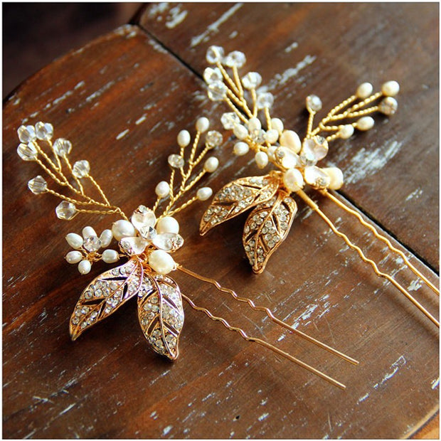 Gold Wedding Hair Accessories Handmade Soft Bride Hair Combs Tiaras Rhinestone Bridal Hair Sticks Evening Head Wear