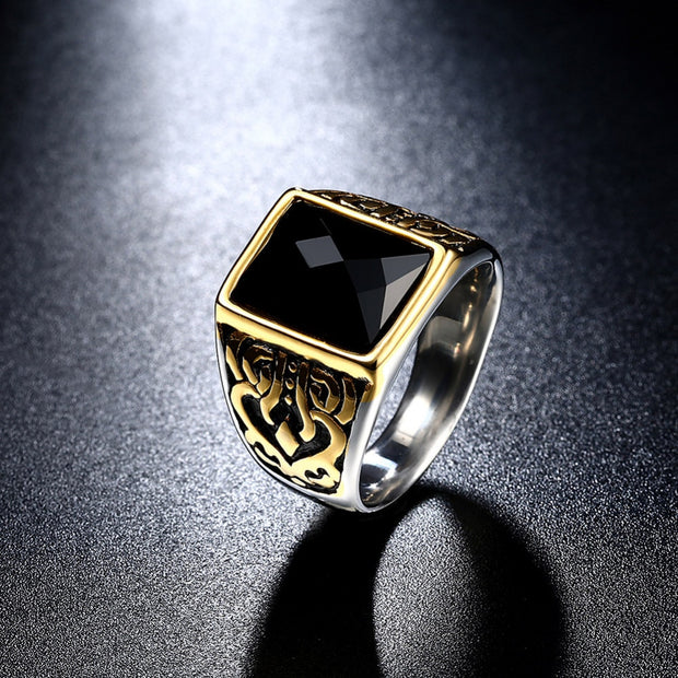 Gothic Vintage Retro Black Glass Stone Geometry Rings Mens Fashion European Party Casual Jewelry Male Christmas Gifts For Man