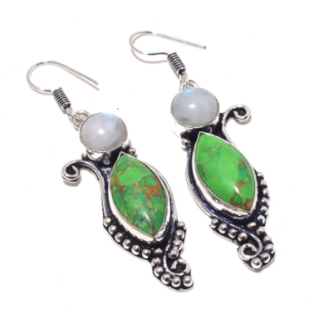 Green Turquois Earrings Silver Overlay Over Copper , 63 Mm, E3846