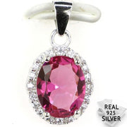 Guaranteed Real 925 Solid Sterling Silver 1.9g Deluxe Top Pink Tourmaline CZ Engagement Pendant 20x11mm