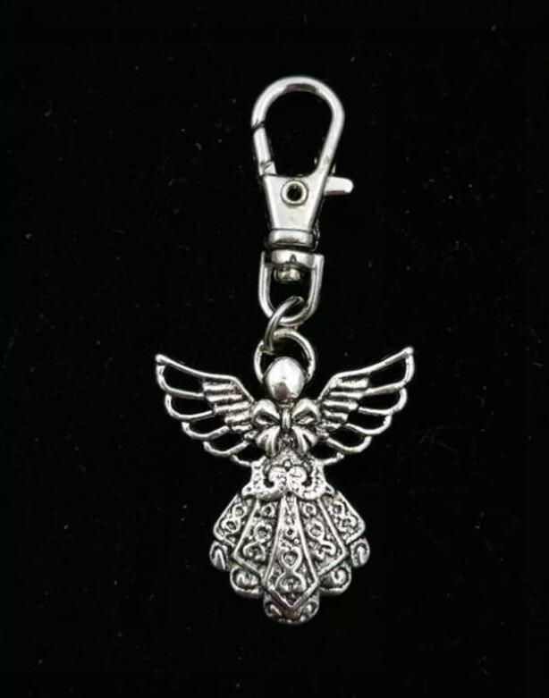 Guardian Angel Fairy Charm Keychain Vintage Silver Fashion Pendant For Car Key Ring Handbag Creative Gift Jewelry Accessories