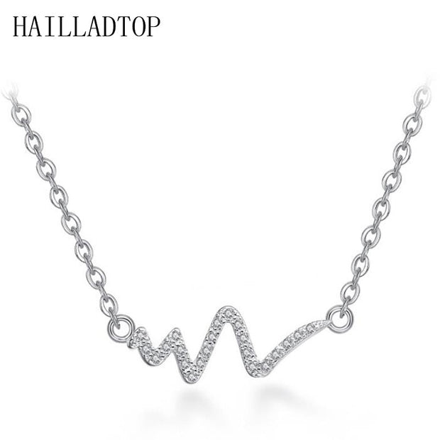 HAILLADTOP Silver Short Necklace Female Necklace Female Wave Heart Chic Ecg Pulse Plated Charm Pendent Romantic Love Jewelry