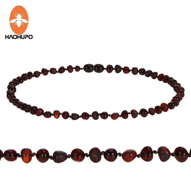 HAOHUPO Original Amber Teething Necklace Natural Baltic Gemstone Jewelry Christmas Gifts Kehribar Bebek 2000+ Instagram Likes