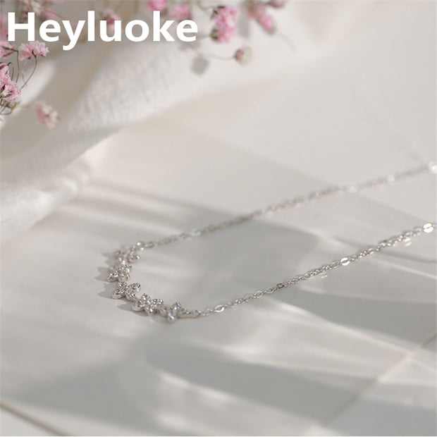 HEYLUOKE 925 Sterling Silver Multiple Zircon 5 Flowers Necklaces & Pendants For Women CZ Wedding Gifts Statement Choker Necklace