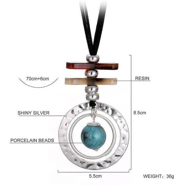 HONGYE 2018 Vintage Punk Jewelry Double Layer Resin Strip Bar Round Ball Necklace Pendant Women Unisex Statement Collars Mujer