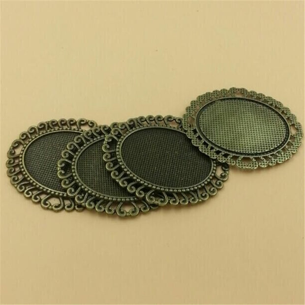 Handcraft Pendant Necklace Charm Cameo Cabochon Base Setting Fittings 40x30mm Bronze Or Silver Diy Pendant Base 10pcs T020