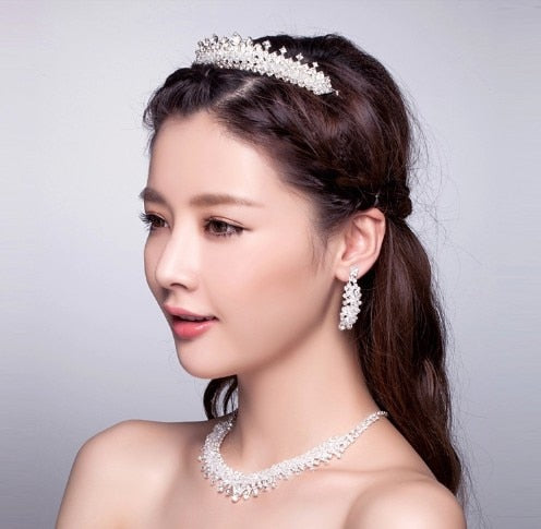 Handmade 3pcs Jewelry Set Wedding Crystal Bridal Hair Combs Crown Necklace Earring Set Bridal Wedding Jewelry Accessories Set