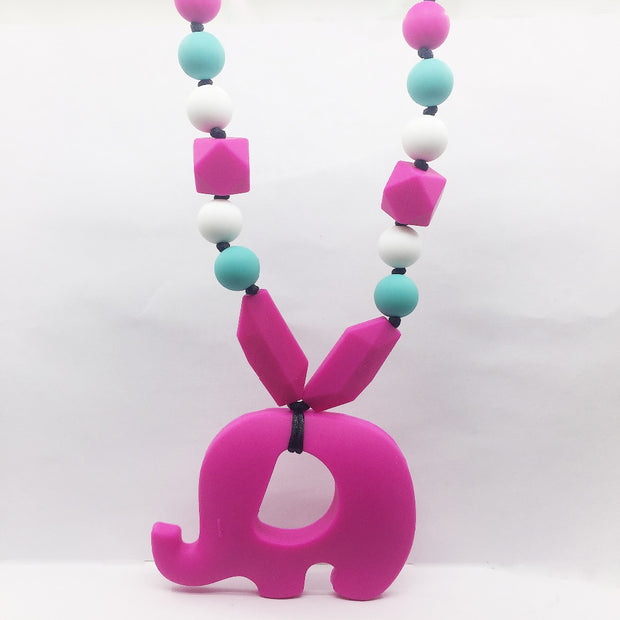 Hanging Elephant Teething Toy Fashion Silicone Chew Teething Necklace Toy ,Elephant Teething Toy