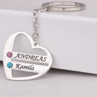 Heart Keychain For Family & Couple Silver Color Crystal Handmade Jewelry Custom Names & Birthstones Drop Shipping YP3063