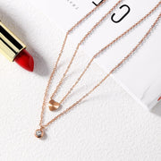 Heart Round Crystal Pendants Pendant Double Layer Necklaces For Women Rose Gold Color Pink Necklace Stainless Steel Charm