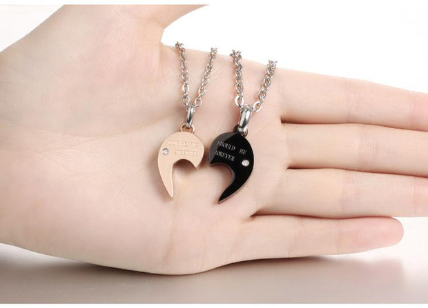Heart Shaped Love Jigsaw Letter Necklace Titanium Steel Rose Gold & Black Women Men Charm Pendant Couples Jewelry Necklaces