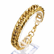 Heavy Stainless Steel Gold Curb Cuban Chain Thick Bracelets Trendsetter Jewelry Rapper Men Women Accessories Bangle 13/16/19mm