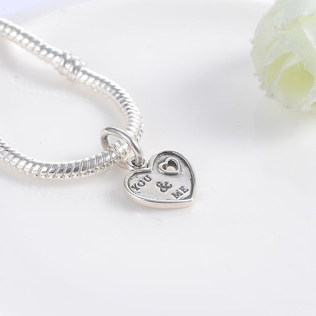 Hengyi New Hot Heart Shape 925 Sterling Silver Charm Fit Bracelet & Necklace Romantic Lovely Jewelry 925 Silver