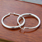 High Quality 925 Silver Jewelry 50mm Round Circle Hoop Earrings For Women Best Gift