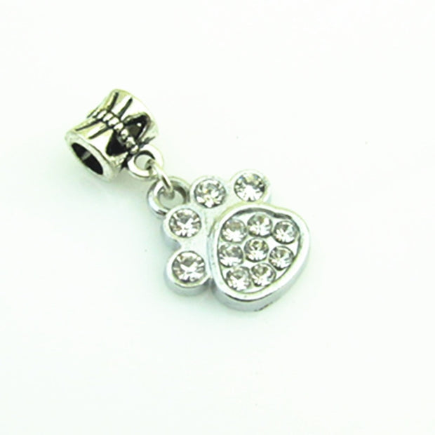 High Quality Crystal Dog's Paw Dangle Charms For Big Hole Pendant Beads Charm Fit DIY Snap Bracelet Jewelry 20pcs/lot