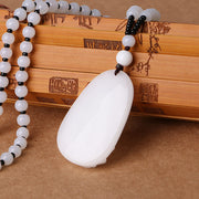 High Quality Jade Reiki Healing Crystal Buddha Chain Lucky White Jade Carved Buddha Lucky Amulet Pendant Necklace For Women Men