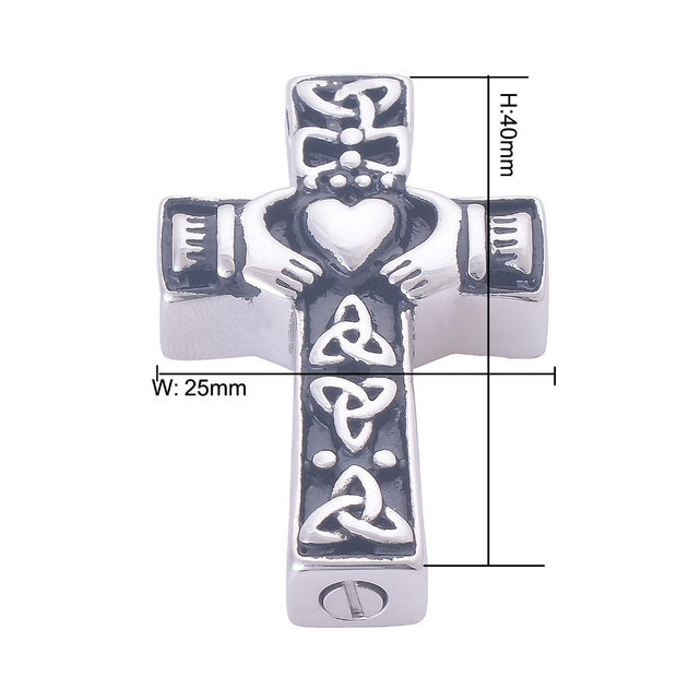 High Quality Stainless Steel Memorial Claddagh Cross Cremation Ashes Urn Keepsake Necklace Pendant