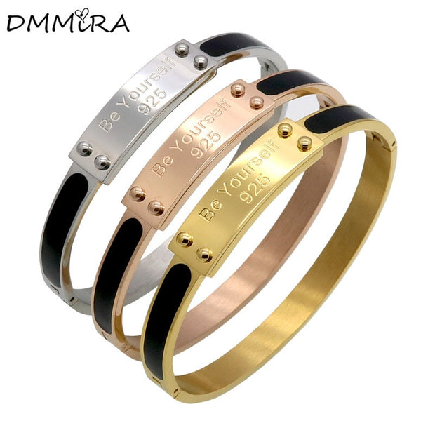 Hot Fashion Women Men Black Drop Glue Silver Rose Gold Titanium Steel Buckle Open Be Yourself Bracelet Bangles Pulseiras Jewelry