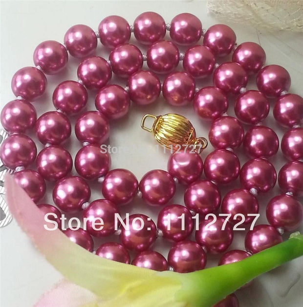 Hot Natural Jewelry Beads Stone Charming 8mm Rose Red Ocean Shell Pearls Necklace 11.11 Jewelry Making 18inch Wholesale