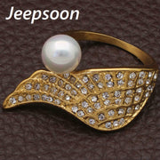 Hot Newest Fashion Imitation Pearl Ring Jewelry Stainless Stee Gold Color Superior Quality Wings Rings For Women Gift RBJHAGBI