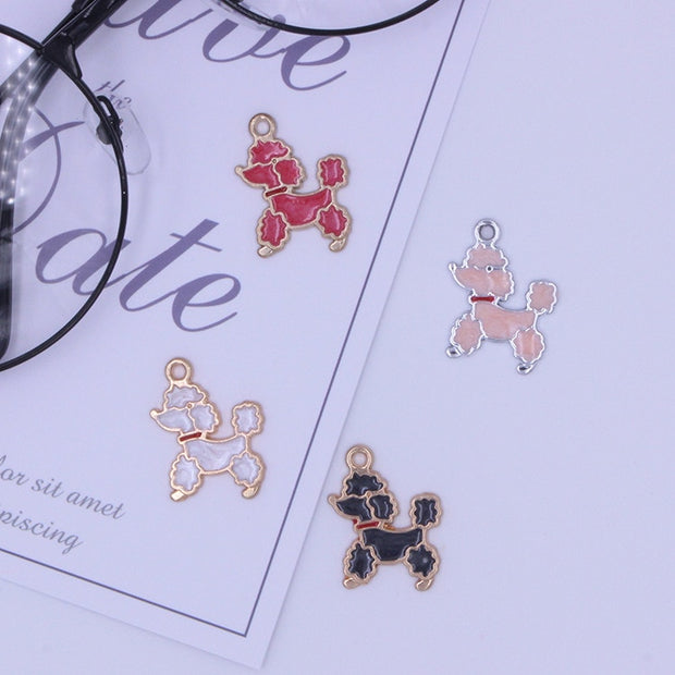 Hot Sale 30pcs DIY Fashion Charm Enamel Teddy Dog Alloy Pendant Making Bracelet Necklace Jewelry Accessories Animal Series