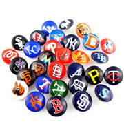 Hot Sale 32pcs/lot Baseball Teams Glass Snap Buttons Sports Charms Fit 18mm DIY Snap Bracelet & Bangles Jewelry Making