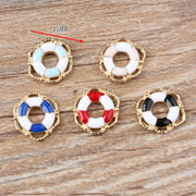 Hot Sale New 20pcs DIY Fashion Charms Gift Enamel Lifebuoy Alloy Pendant Making Bracelet Necklace Clothing Jewelry Accessories