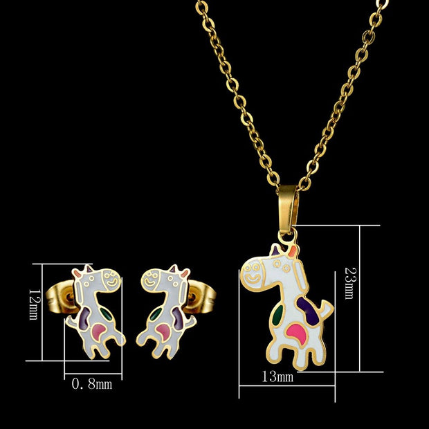 Hot Sale Stainless Steel Animal Jewelry Set Gold Chain Kids Jewelry Cartoon Horse Necklace Earring Set For Girls