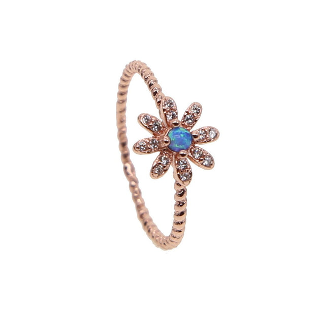 Hot Sale Blue Opal Jewelry Rose Gold Color Dainty Shiny Austrian Crystal Daisy Flower Ring Cute Girl Women Elegance Wedding Ring