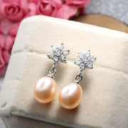 Hot Selling 925 Sterling Silver Drop Earrings For Women 4 Colors Original Natural Freshwater Pearl Jewelry Highly Recomend LINDO