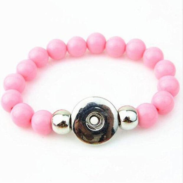 Hot Selling Pink 10mm Beads Handmade Elastic Snap Button Bracelet For 18mm Snap Button Jewelry 5pcs/lot