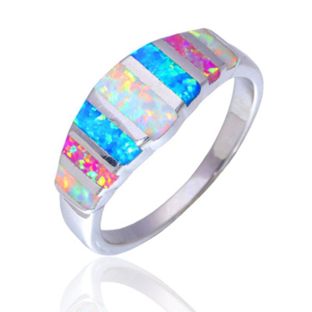 Hot Wholesale & Retail Fashion Fine Multi Fire Opal Ring 925 Sterling Slive Jewelryr For Women RJL170508007