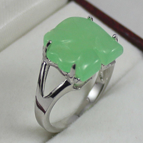 Hot Sell Noble- FREE SHIPPING>>>@@ Finest Green Natural Stone Elephant Jewelry Ring: 7-9