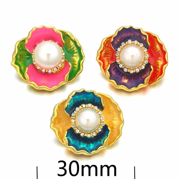Hot W335 3D 18mm 30mm Rhinestone Metal Snap Button For Bracelet Necklace Interchangeable Jewelry Women Accessorie Findings