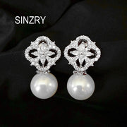 Hotsale Sinzry Brand NEW Cubic Zircon Four Leaf Flower Sim UlatedPearl Engagement Stud Earring For Women Wholesale Free Shipping