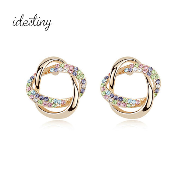 IDESTINY 11.11 Gold Color Stud Earrings For Women Girlfriend Brand Jewelry Made With Austrian Crystal Best Valentine'S Day Gift