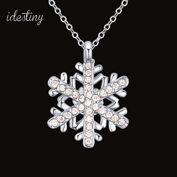 IDESTINY 11.11 Snowflake Necklace Pendant Made With Austrian Crystal New Christmas Jewlery For Girls Best Jewellery Bijoux Gift