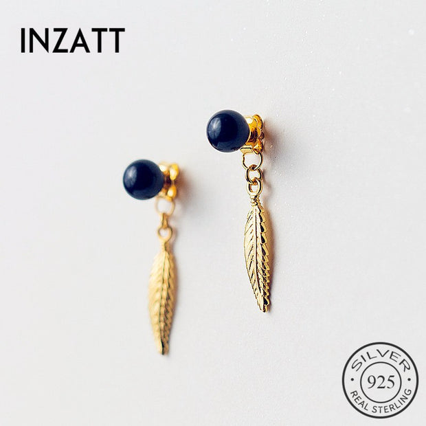 INZATT Boho Exquisite Gold Feather Black Pearl Dangle Drop Earrings For Women Wedding Party 925 Sterling Silver Fashion Jewelry
