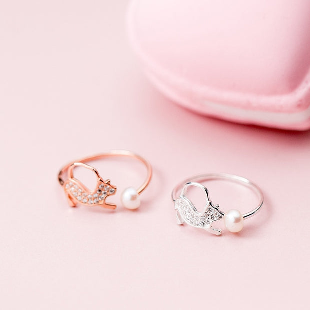 INZATT Cute Dog Zircon Pearl Ring Real 100% 925 Sterling Silver Rose Gold Color For Women Birthday Trendy Jewelry New 2018 Gift