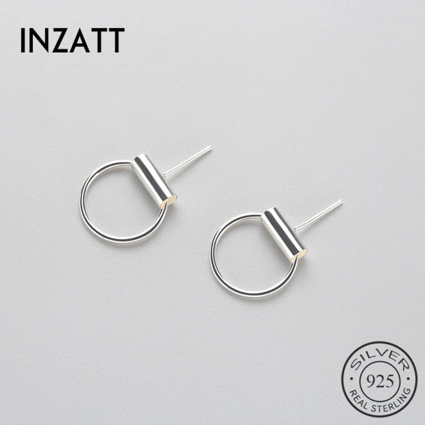 INZATT Fashion Real 925 Sterling Silver Round Stud Earrings Minimalist Trendy Accessories Gift For Women Party Jewelry Bijoux