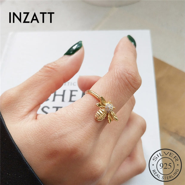 INZATT Pure 925 Sterling Silver Cute Animal Zircon Exquisite Bee Openwork Ring For Fashion Women Ring 2018 Trendy Jewelry Gift