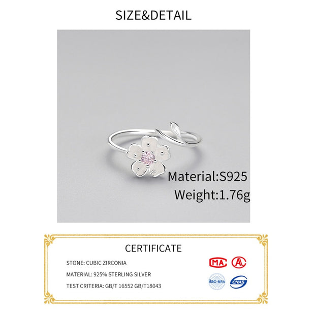 INZATT Real 925 Sterling Silver Zircon Enamel Plum Flower Adjustable Ring Elegant Fine Jewelry For Women Romantic Party Bijoux