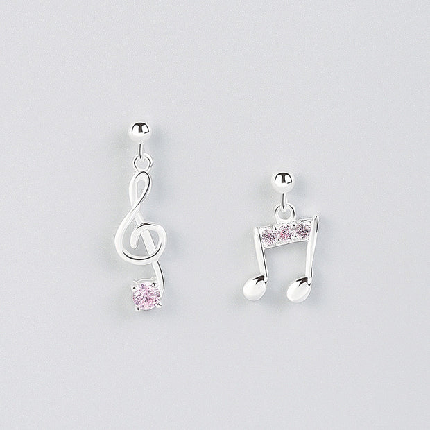 INZATT Romantic Unique 925 Sterling Silver Drop Earrings Cute Music Note Chic Pink Crystal Accessories For Girl Birthday Gift