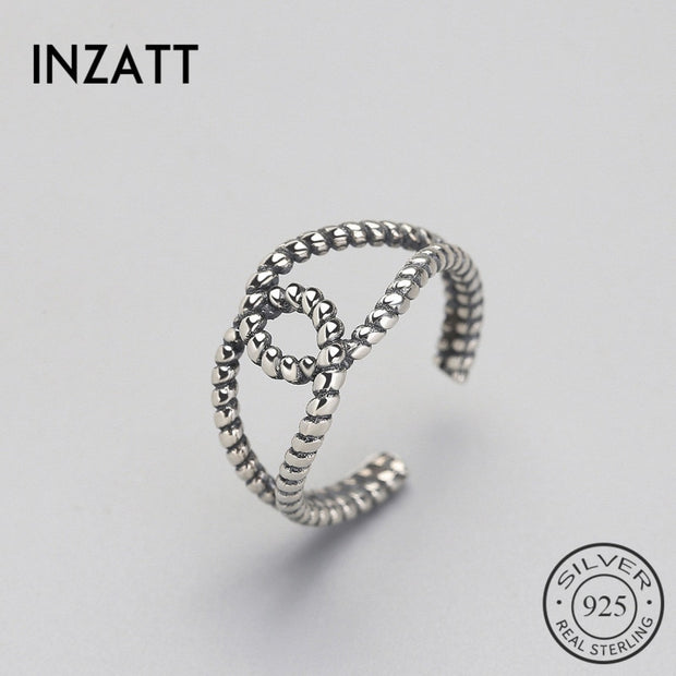 INZATT Vintage Old Line Spiral Cross Ring Genuine 925 Sterling Silver For Women Birthday Fashion Jewelry Anillos Mujer Gift