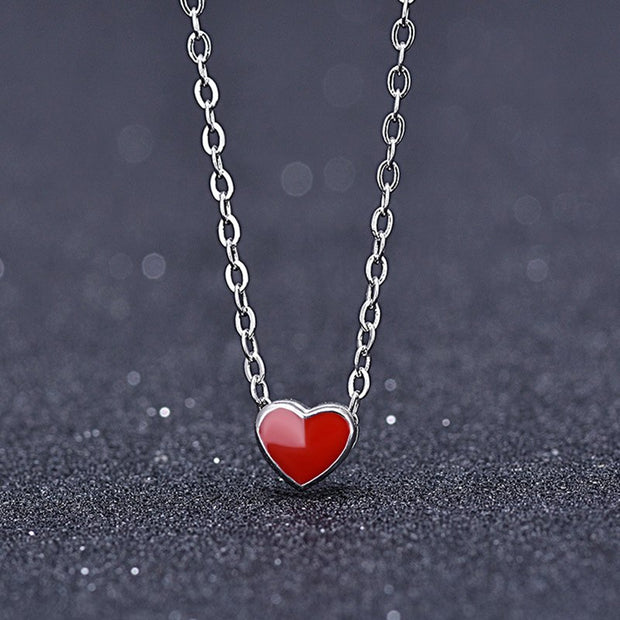 Imitation Sterling Silver Heart Necklace Simple Girl Heart Short