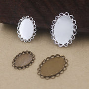 Inner: 13*18mm 18*25mm Bronze/Silver/Gold/Black Double Lace Oval Blank Charms Pendant Trays Base Setting Cameo Cabochon