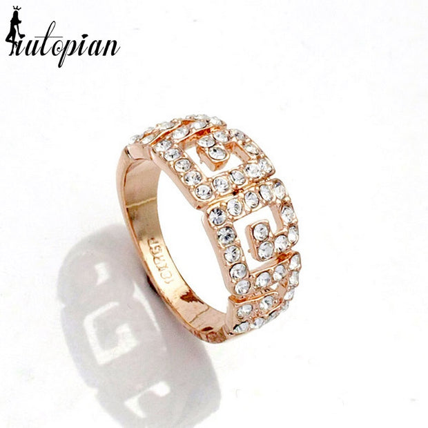 Iutopian Brand Genuine Austrian New Arrival Geometric Style Rings Aneis For Women With Austrian Crystal Stellux A#RA10544