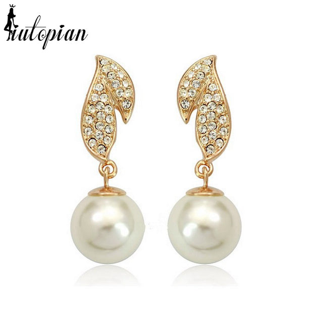 Iutopian New Arrival Classic Drop Earrings Brinco With Simulated Pearl Fashion Jewelry 18KGP Red Apple C#RG84939