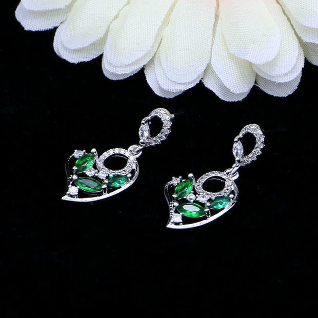 JAMILY 925 Sterling Silver Earing Of Green Stone And Crystal For Bridal Natural Green Cubic Zirconia Earrings For Wedding